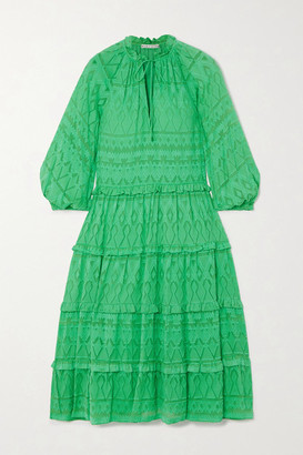 Alice + Olivia Layla Tiered Fil Coupe Silk And Cotton-blend Midi Dress - Green