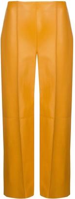 Oscar de la Renta Lambskin Leather Cropped Trousers