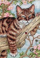 "Dimensions Napping Kitten"" Gold Petite Counted Cross Stitch Kit, Multi-Colour"