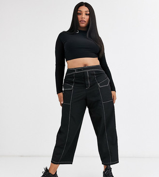 Asos DESIGN Curve trouser with contrast topstitch in shell fabric