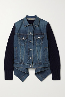 Sacai Asymmetric Shell-trimmed Paneled Denim And Ribbed Wool Jacket - Blue