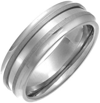 Theia Titanium Flat Court Double Matt Embossed 7mm Ring - Size W