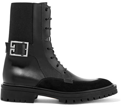 Givenchy Aviator Suede-trimmed Leather Ankle Boots - Black