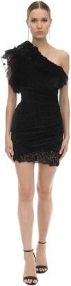 Giamba One Shoulder Ruffled Lace Mini Dress