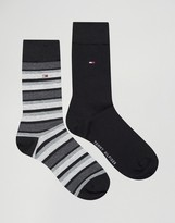 Tommy Hilfiger Classic Stripe 2 Pack Socks In Black