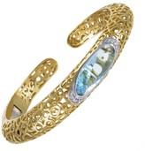 Roberto Coin Mauresque Yellow White Gold Diamond Topaz Bangle Bracelet