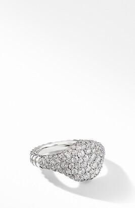 David Yurman Mini Chevron Pinky Ring in 18K Gold with Pave Diamonds
