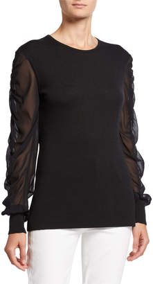 Neiman Marcus Twofer Cashmere Crewneck Chiffon-Sleeve Sweater