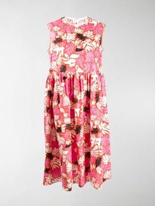 Marni Sleeveless Leaf Print Midi Dress