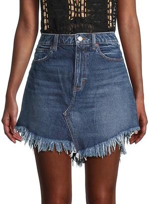 Free People Bailey Fringe Denim Mini Skirt