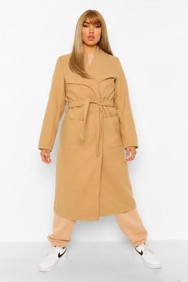 boohoo Shawl Collar Wool Look Coat