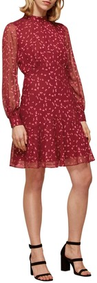 Whistles Falling Leaves Long Sleeve Silk Blend Dress