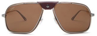 Cartier Santos De Aviator Metal Sunglasses - Brown