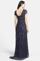 Adrianna Papell Women's Short Sleeve Sequin Mesh Gown