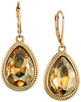 2028 Gold-Tone Light Brown Faceted Pear Drop Earrings