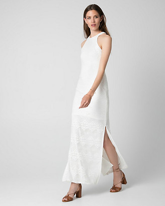 Le Château Crochet Halter Maxi Dress
