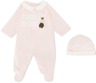 Fendi Kids Logo Print Babygrow And Beanie Set