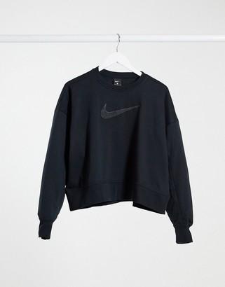 Nike Training crew-neck sweatshirt with swoosh logo in black