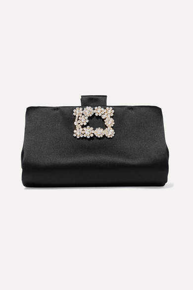 Roger Vivier Crystal-embellished Satin Clutch - Black
