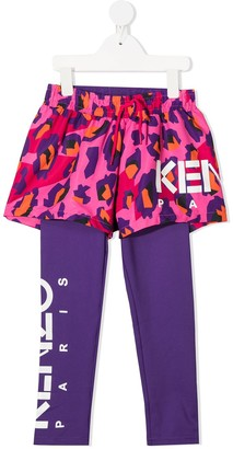 Kenzo Kids Animal-Print 2-In-1 Leggings