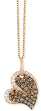 "LeVian Le Vian Chocolatier Diamond Heart 18"" Pendant Necklace (3/4 ct. t.w.) in 14k Rose Gold"