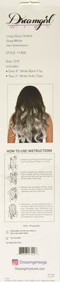 Dreamgirl Women's Long Wavy Gray/White Ombre Three-Piece Hair Extensions One Size