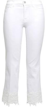 J Brand Selena Guipure Lace-trimmed Mid-rise Kick-flare Jeans