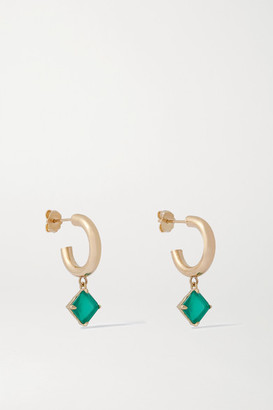 Loren Stewart Melrose Gold Agate Hoop Earrings - Green