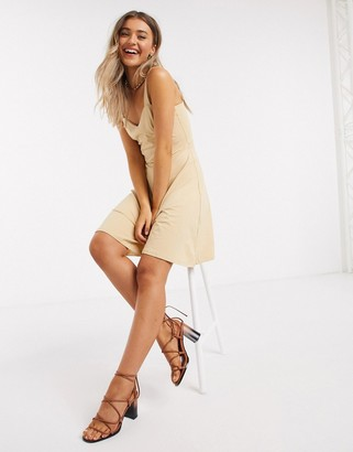 Pieces ang strappy skater dress in sand