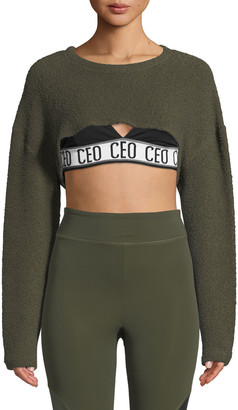 Cushnie Nicolette Crewneck Long-Sleeve Cropped Top