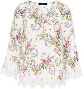 Hallhuber Tunic blouse with wide lace hems