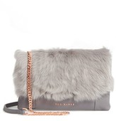 Ted Baker Fuzzi Genuine Shearling & Leather Convertible Crossbody Bag - Grey