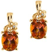 Gem Stone King 3.21 Ct Oval Ecstasy Mystic Topaz and Diamond 18k Yellow Gold Earrings