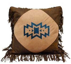 """HiEnd Accents 18""""x18"""" Southwest Emblem Pillow with Fringe"""
