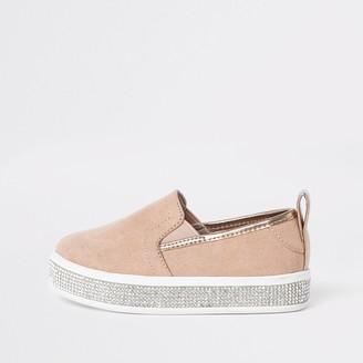 River Island Mini girls Pink diamante trim plimsolls