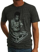 Bow & Arrow Mens Bruce Lee Dj Scratch T-Shirts Burn Out Charcoal X-Large, Cream Soda