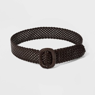 Universal Thread Women' Wide Covered Buckle Woven Braided Belt - Univeral ThreadTM