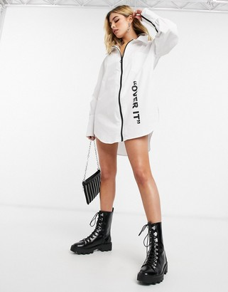 Public Desire relaxed shirt dress with over it logo in cotton