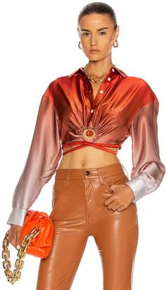 CHRISTOPHER ESBER Orbit Crop Tie Shirt in Opposite Gradient & Red Jasper | FWRD