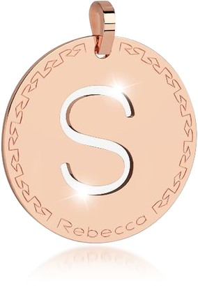 Rebecca Rose Gold-plated Bronze S Charm W/Rhodium-plated Necklace