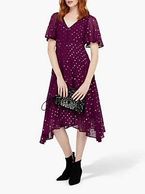 Monsoon Dela Sequin Hanky Hem Tea Dress
