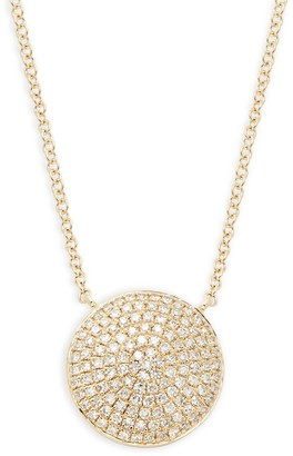Saks Fifth Avenue 14K Yellow Gold Diamond Disc Pendant Necklace