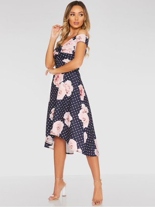 Quiz Polka Dot Floral Knot Front Dip Hem Dress - Navy