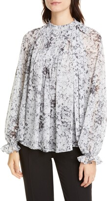 ADAM by Adam Lippes Pintuck Bow Neck Floral Print Chiffon Blouse