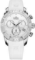 Edox Women's 10405 3 NAIN Royal Lady Mother Of Pearl Dial Rubber Chrono Watch