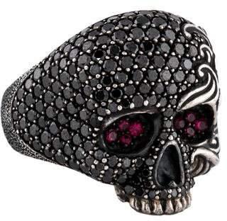 David Yurman Black Diamond & Ruby Waves Large Skull Ring