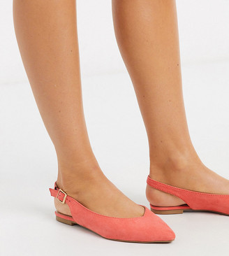 Simply Be wide fit Lana sling back pointed shoes in coral