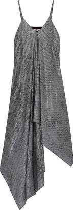 Christopher Kane Asymmetric Draped Metallic Mesh Midi Dress
