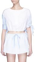 Alexander Wang Pinstripe sleeve drawcord waist cropped shirt