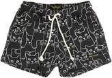 Finger In The Nose Cat Printed Cotton Shorts